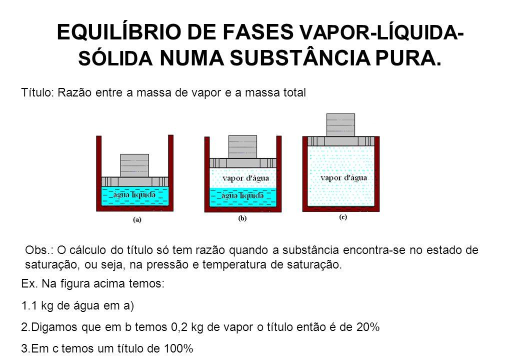 EQUILÍBRIO DE FASES VAPOR-LÍQUIDA-SÓLIDA NUMA SUBSTÂNCIA PURA.