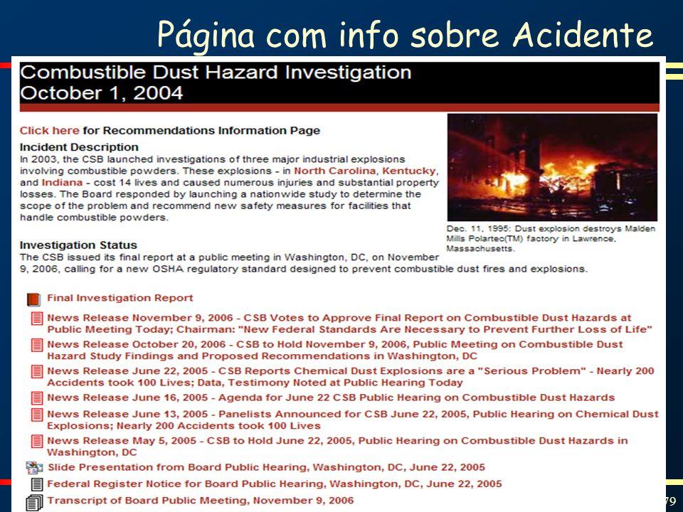 Página com info sobre Acidente