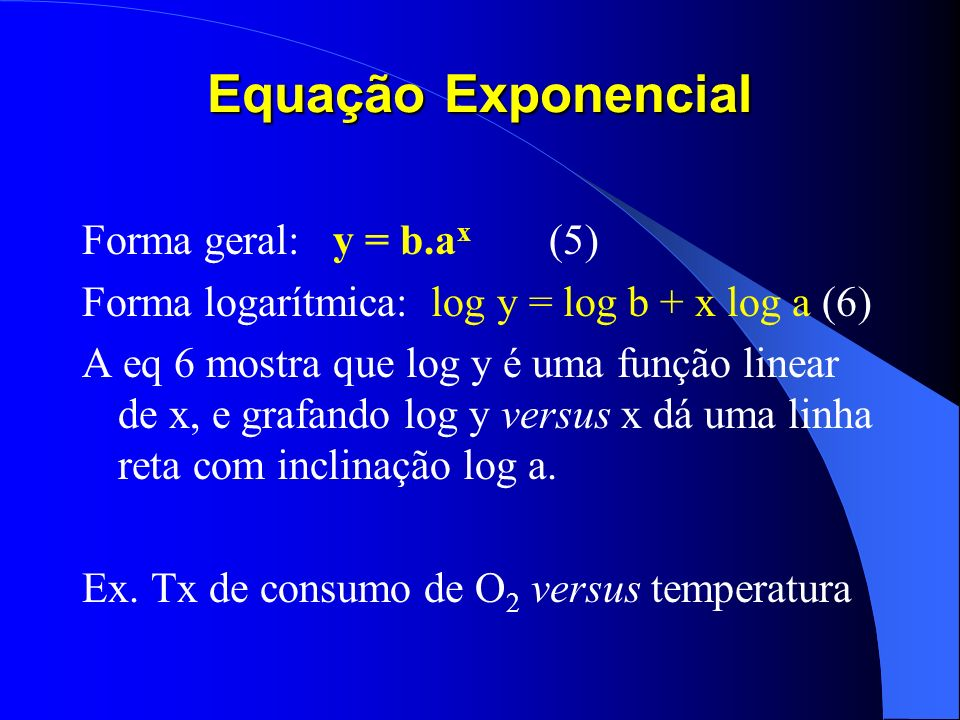 Equação Exponencial Forma geral: y = b.ax 5