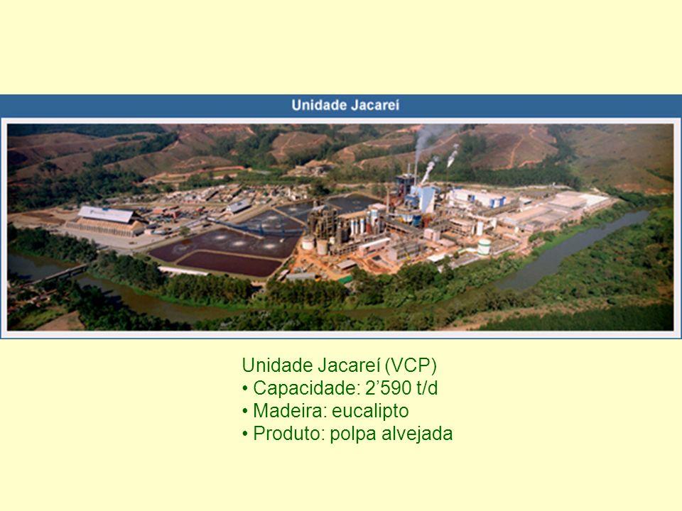 Unidade Jacareí (VCP) Capacidade: 2'590 t/d Madeira: eucalipto Produto: polpa alvejada