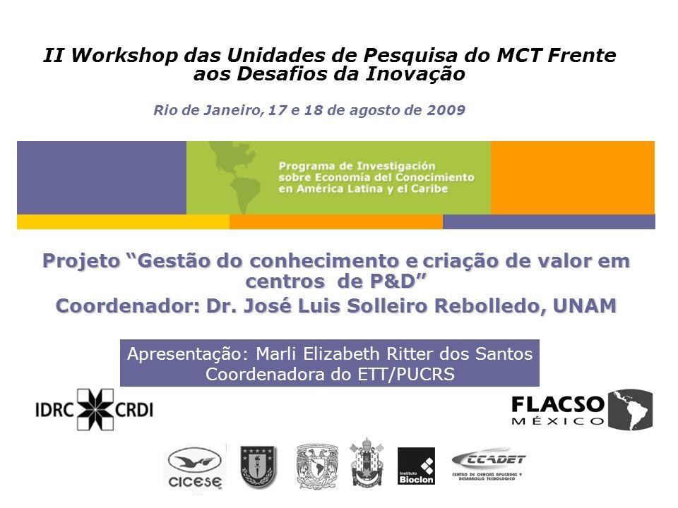 II Workshop das Unidades de Pesquisa do MCT Frente