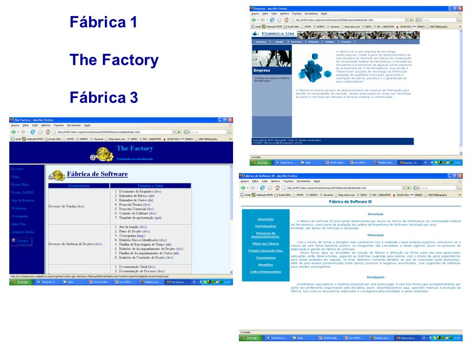 Fábrica 1 The Factory Fábrica 3