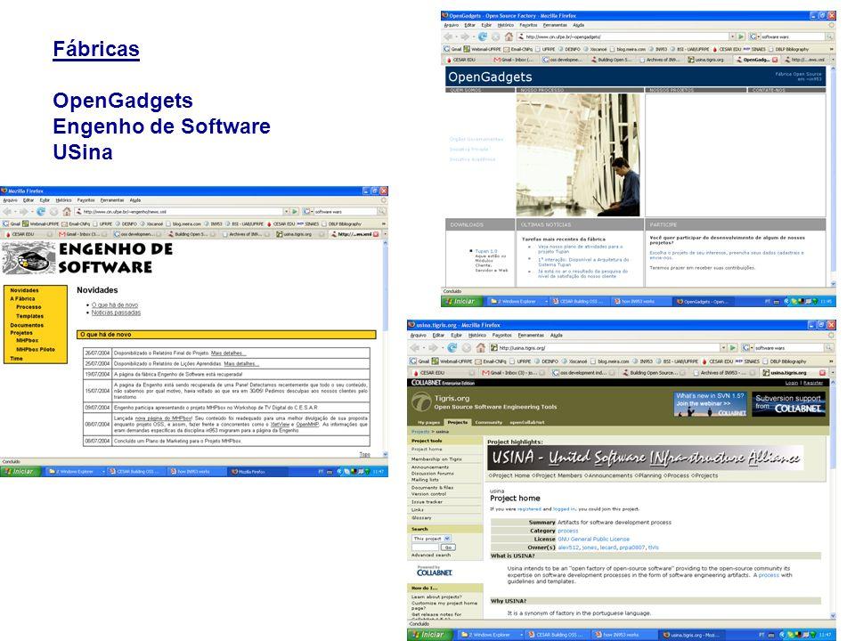 Fábricas OpenGadgets Engenho de Software USina