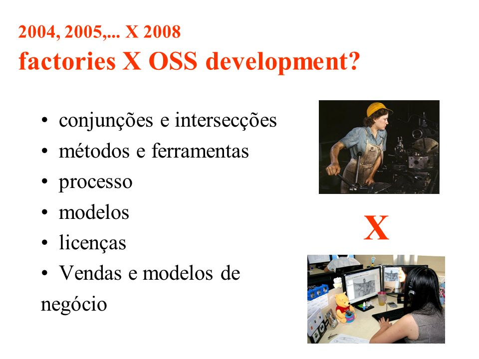 2004, 2005,... X 2008 factories X OSS development