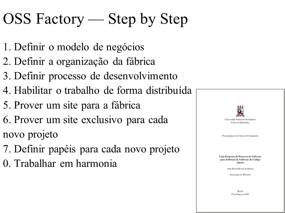 OSS Factory — Step by Step