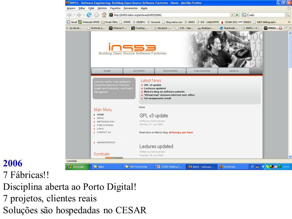 2006 7 Fábricas!. Disciplina aberta ao Porto Digital.