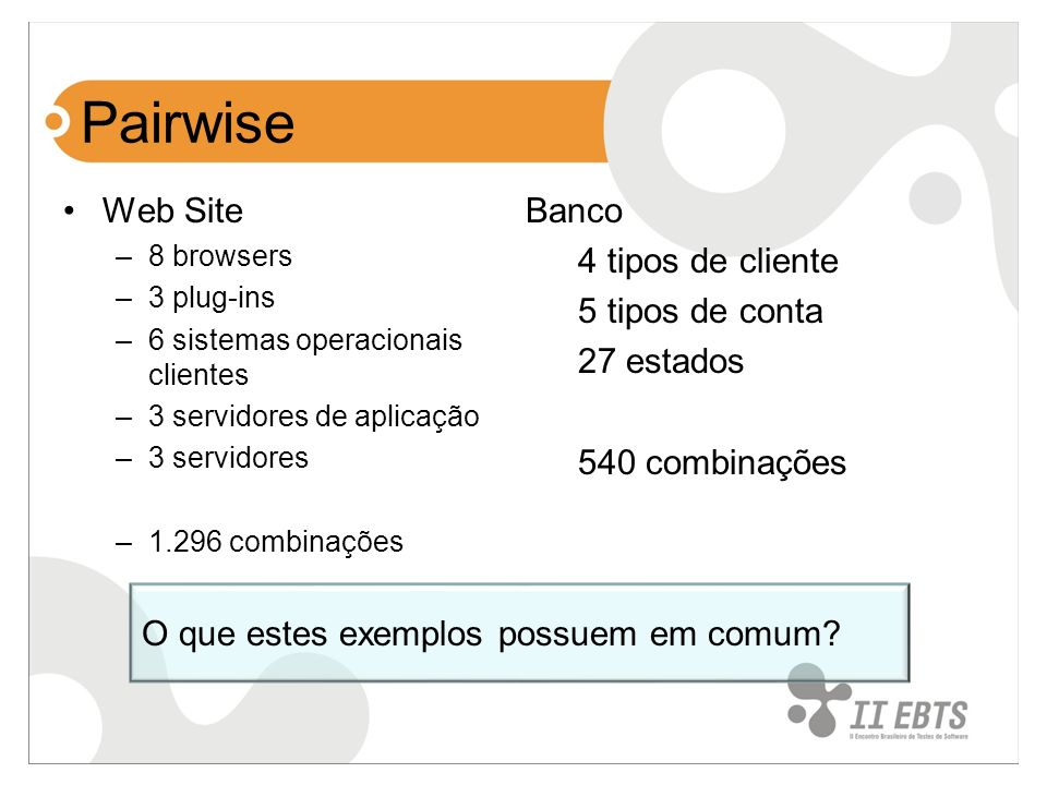 Pairwise Web Site Banco 4 tipos de cliente 5 tipos de conta 27 estados