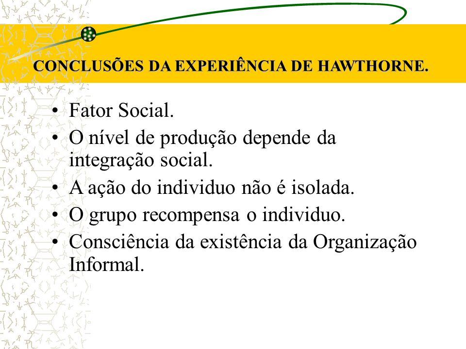 CONCLUSÕES DA EXPERIÊNCIA DE HAWTHORNE.