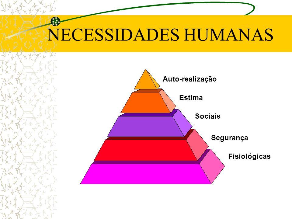 NECESSIDADES HUMANAS Auto-realização Estima Sociais Segurança