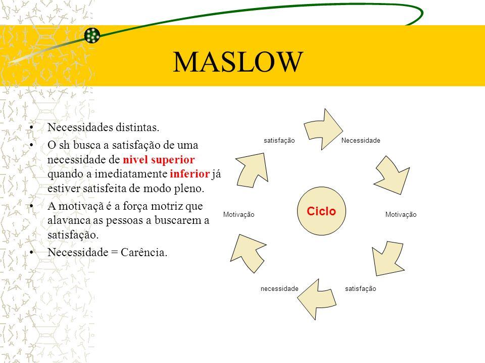 MASLOW Necessidades distintas.