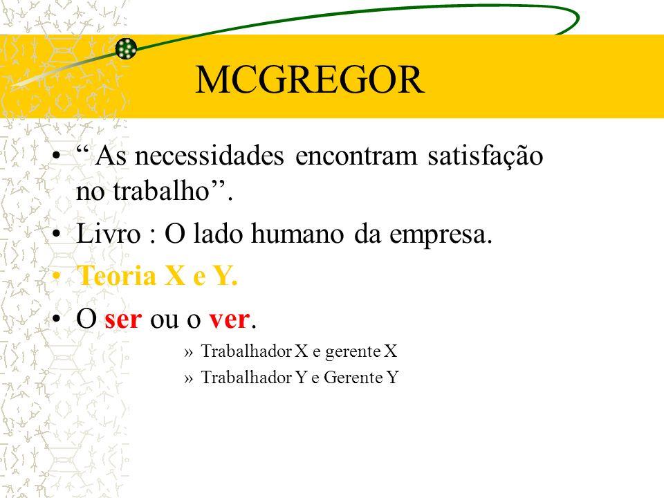 MCGREGOR As necessidades encontram satisfação no trabalho''.