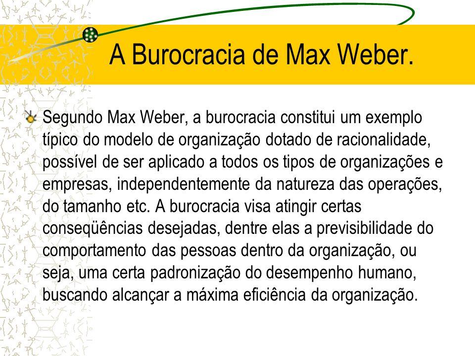 A Burocracia de Max Weber.