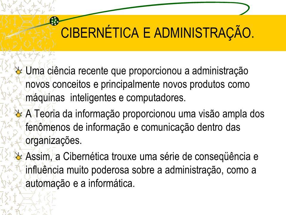 CIBERNÉTICA E ADMINISTRAÇÃO.