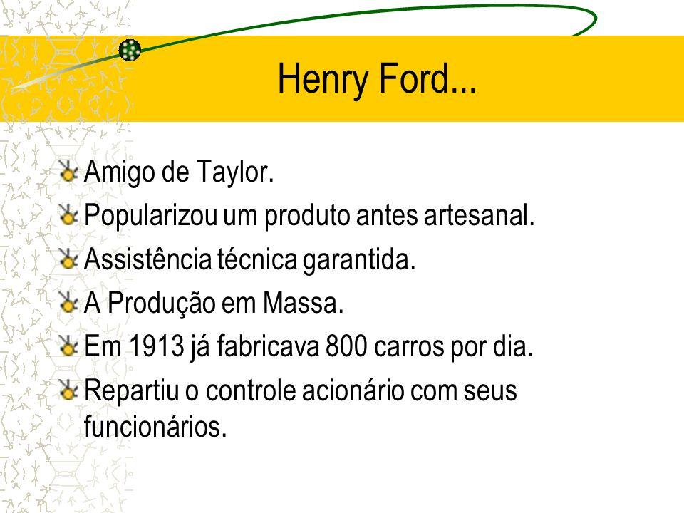 Henry Ford... Amigo de Taylor. Popularizou um produto antes artesanal.