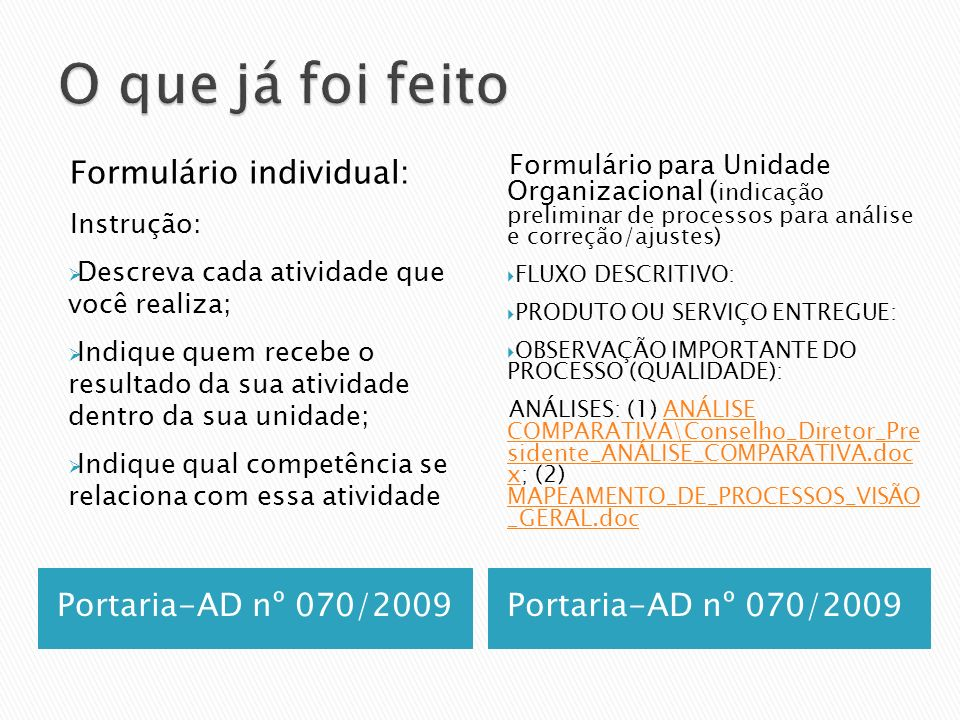 O que já foi feito Formulário individual: Portaria-AD nº 070/2009