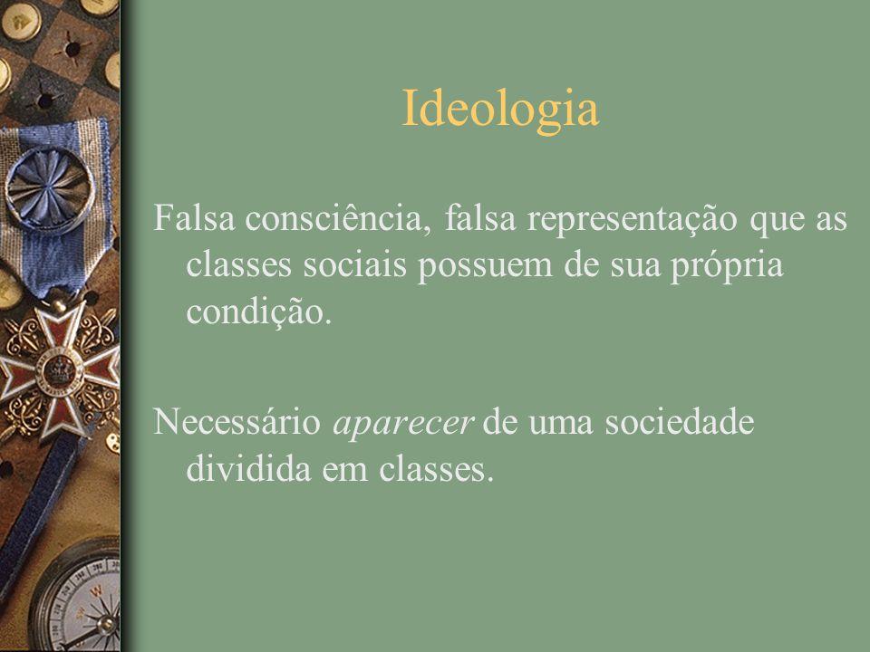 Ideologia Falsa consciência, falsa representação que as classes sociais possuem de sua própria condição.