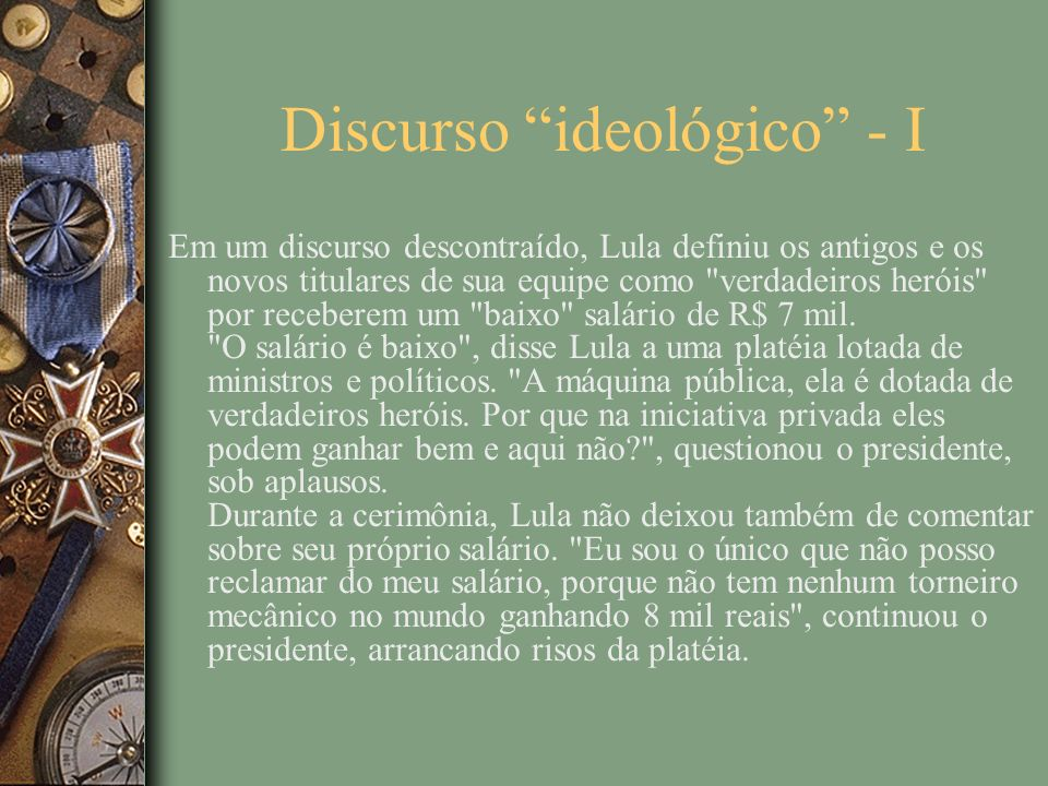 Discurso ideológico - I