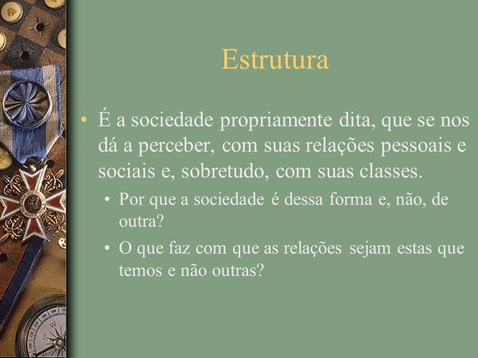 Estrutura É a sociedade propriamente dita, que se nos dá a perceber, com suas relações pessoais e sociais e, sobretudo, com suas classes.