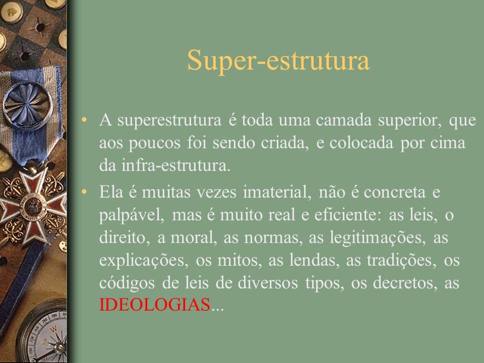 Super-estrutura A superestrutura é toda uma camada superior, que aos poucos foi sendo criada, e colocada por cima da infra-estrutura.