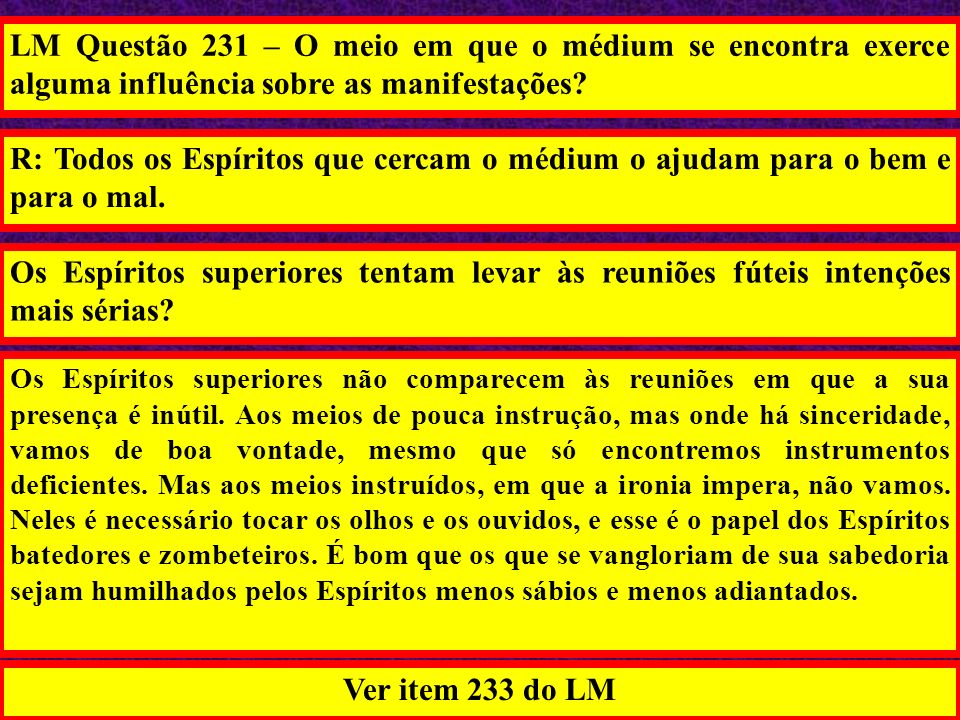 LM Questão 231 – O meio em que o médium se encontra exerce alguma influência sobre as manifestações