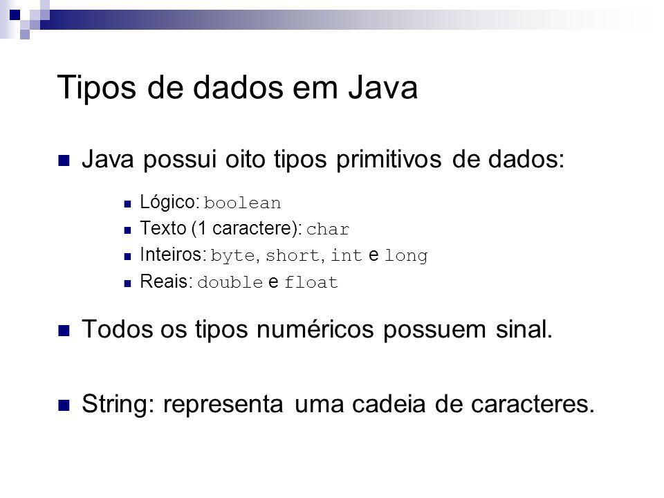 Tipos de dados em Java Java possui oito tipos primitivos de dados:
