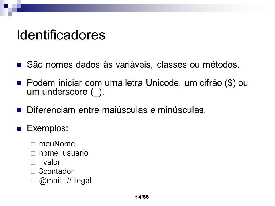 Identificadores São nomes dados às variáveis, classes ou métodos.