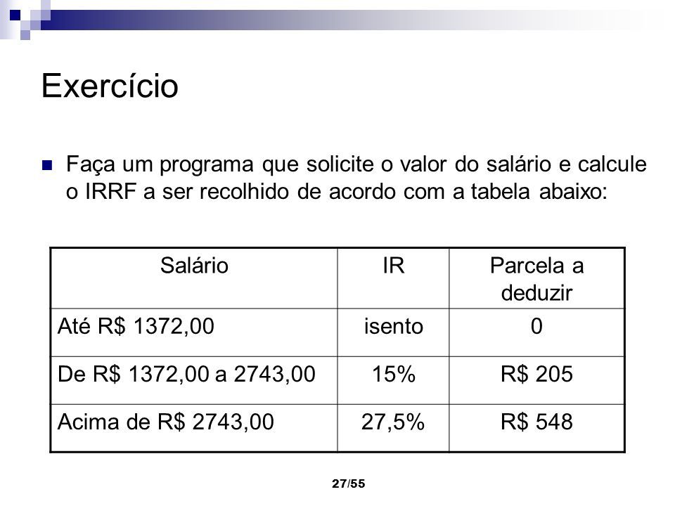 Exercício Faça um programa que solicite o valor do salário e calcule o IRRF a ser recolhido de acordo com a tabela abaixo: