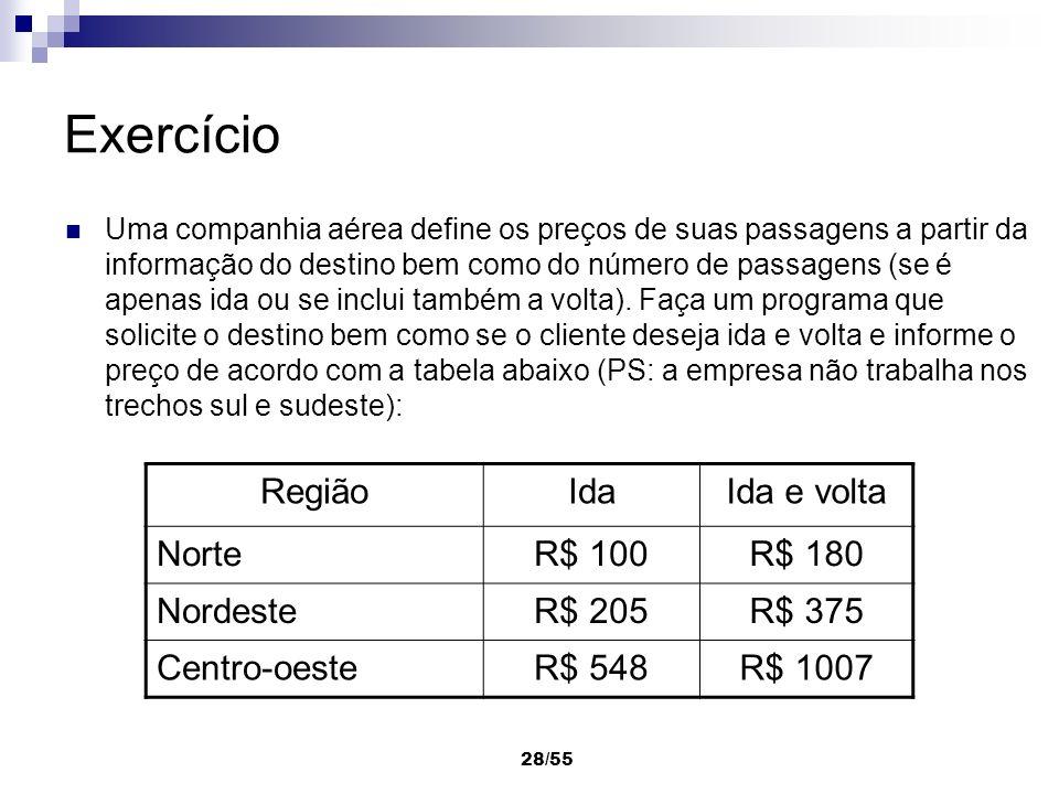 Exercício Região Ida Ida e volta Norte R$ 100 R$ 180 Nordeste R$ 205