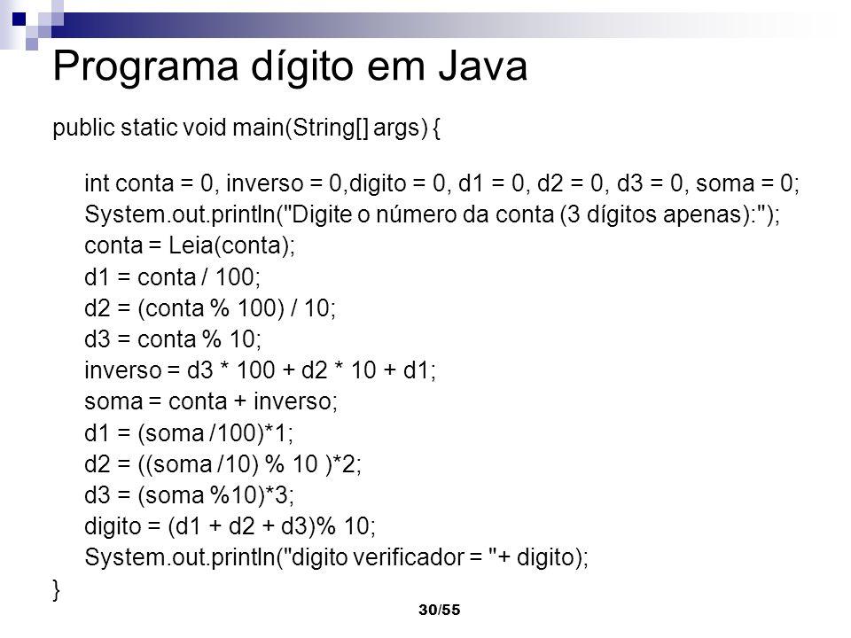 Programa dígito em Java
