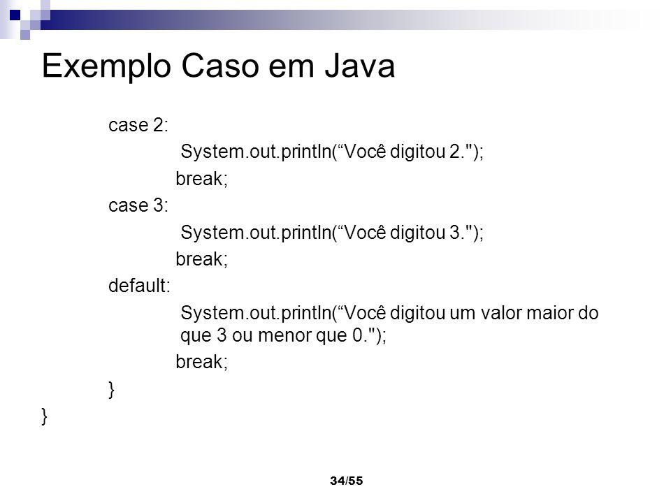 Exemplo Caso em Java case 2: System.out.println( Você digitou 2. );