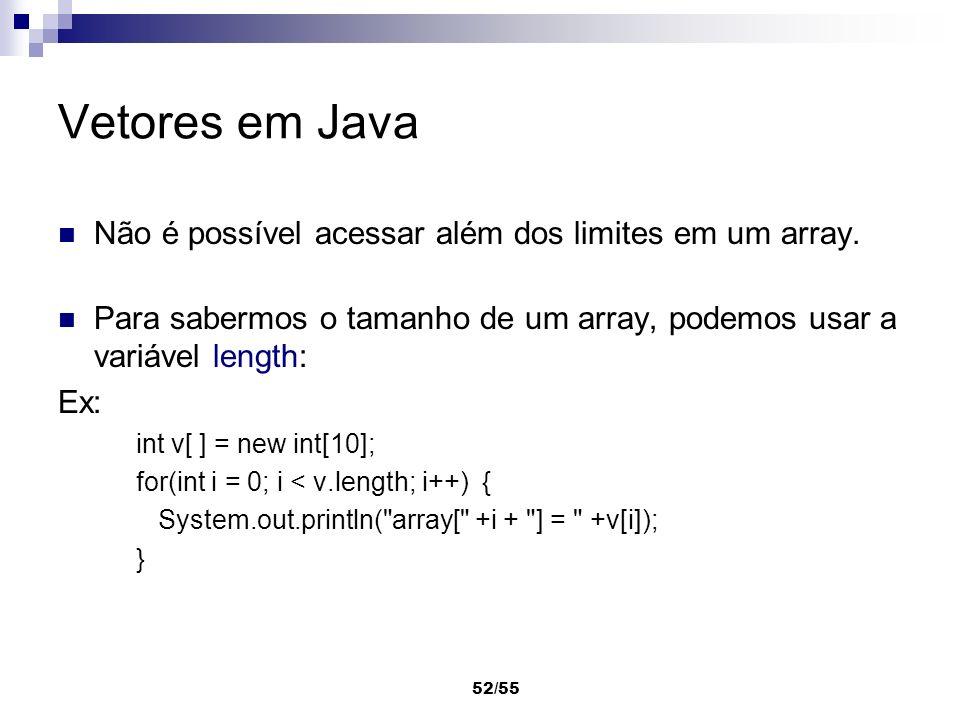 Vetores em Java Não é possível acessar além dos limites em um array.