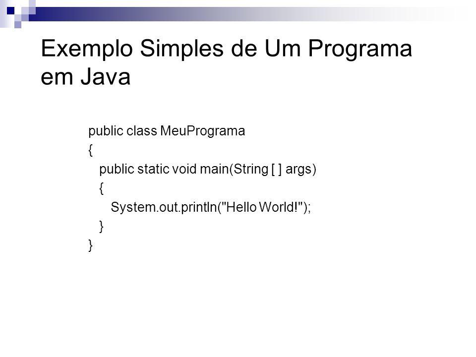 Exemplo Simples de Um Programa em Java