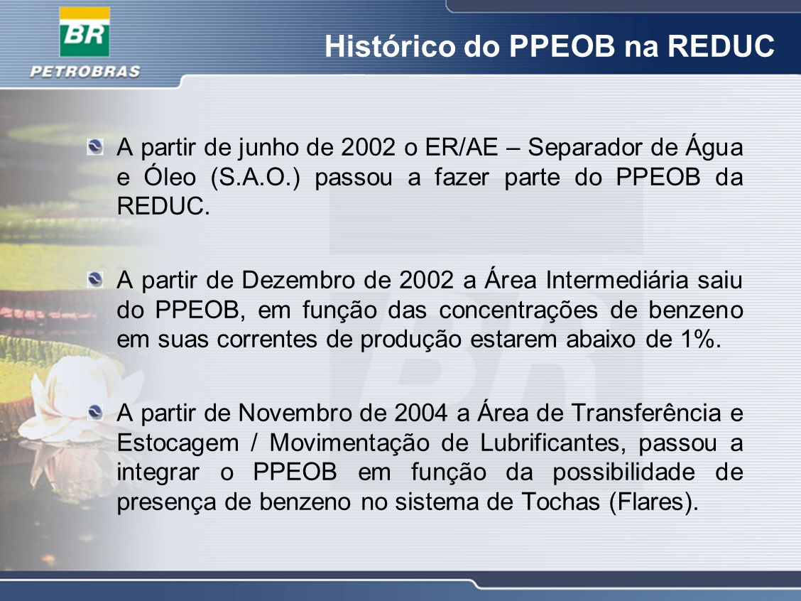 Histórico do PPEOB na REDUC