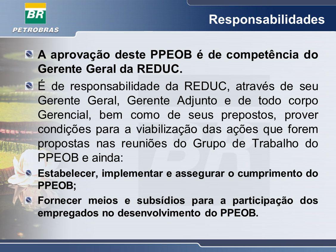 Responsabilidades A aprovação deste PPEOB é de competência do Gerente Geral da REDUC.
