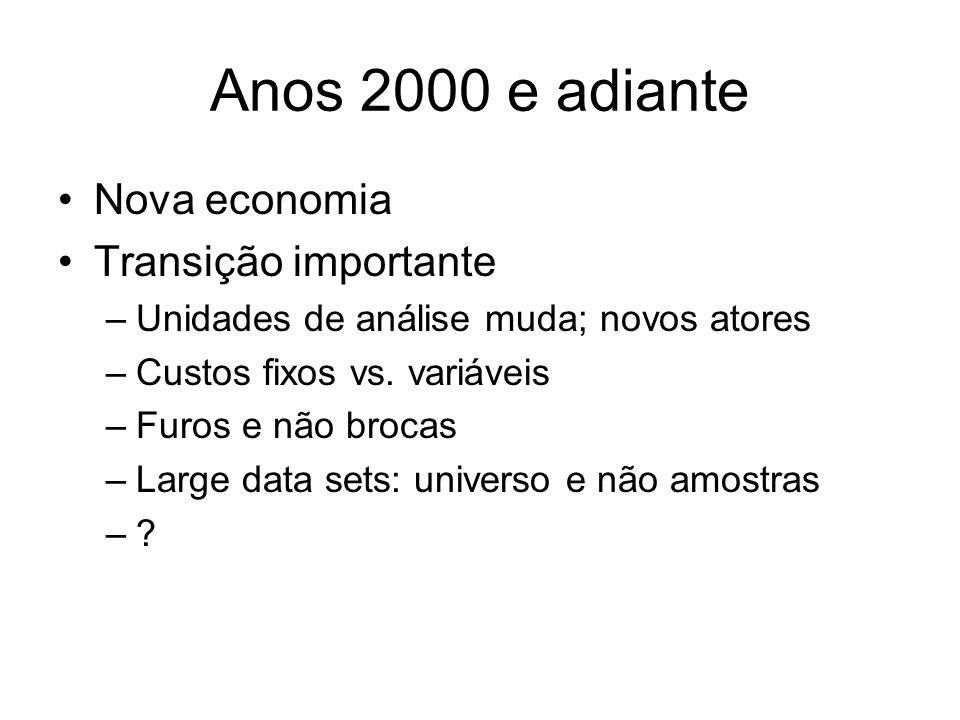 Anos 2000 e adiante Nova economia Transição importante