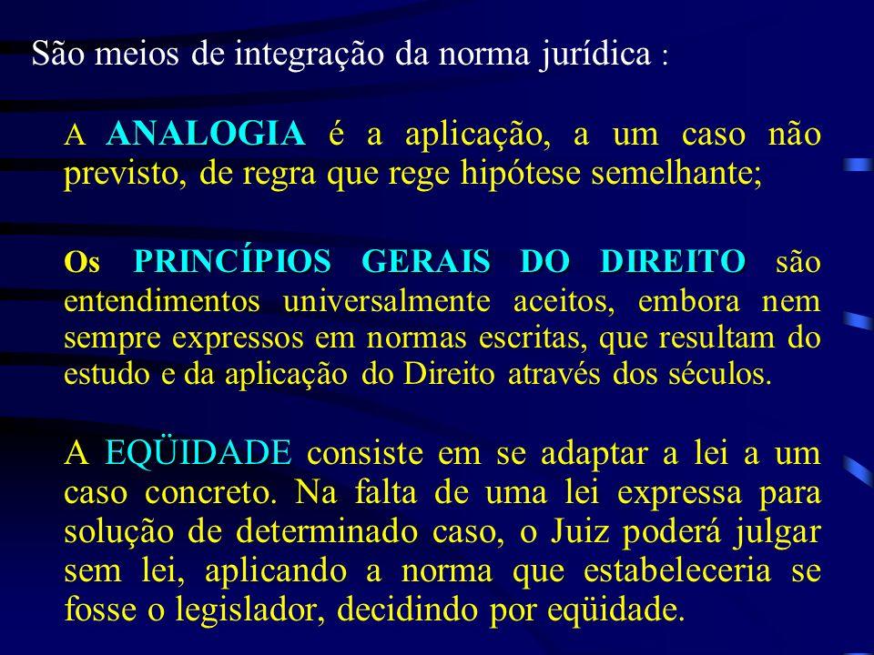 São meios de integração da norma jurídica :