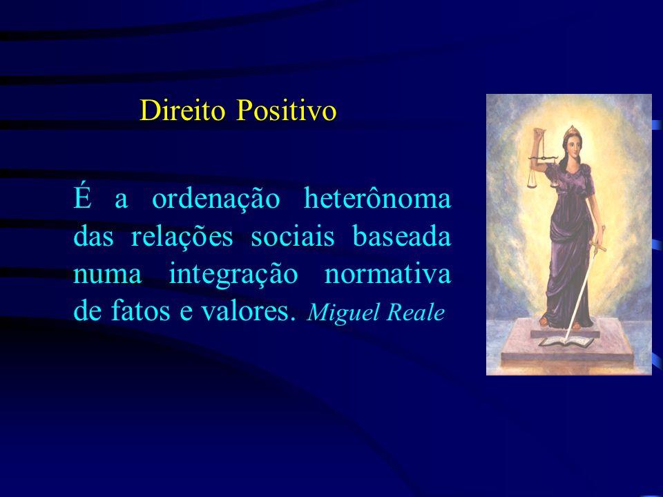 Direito Positivo É a ordenação heterônoma das relações sociais baseada numa integração normativa de fatos e valores.