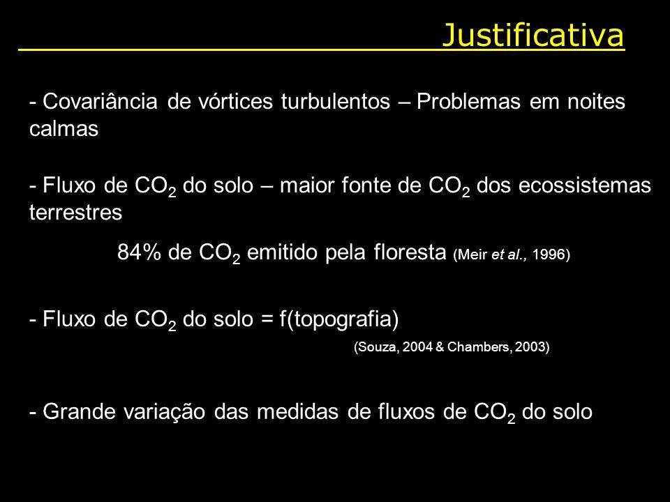 84% de CO2 emitido pela floresta (Meir et al., 1996)