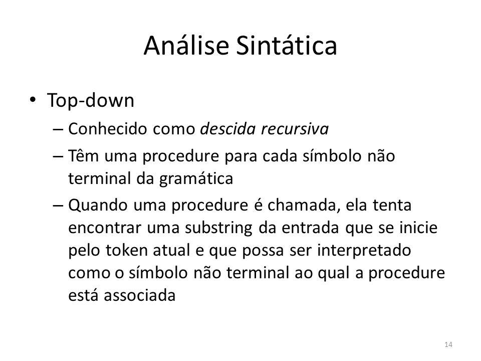 Análise Sintática Top-down Conhecido como descida recursiva