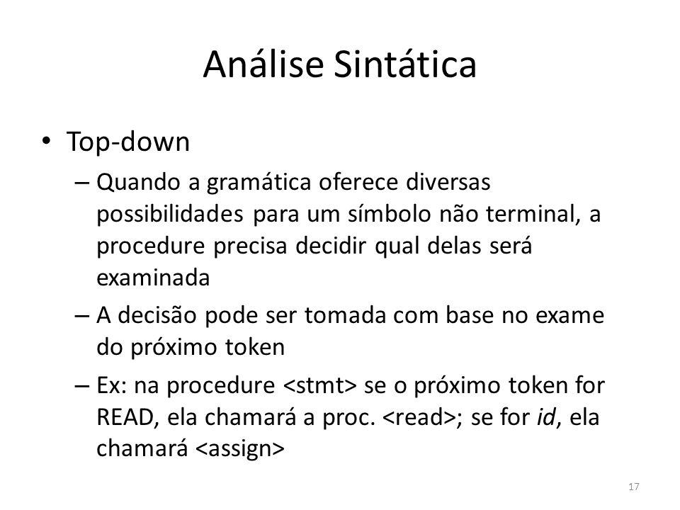 Análise Sintática Top-down