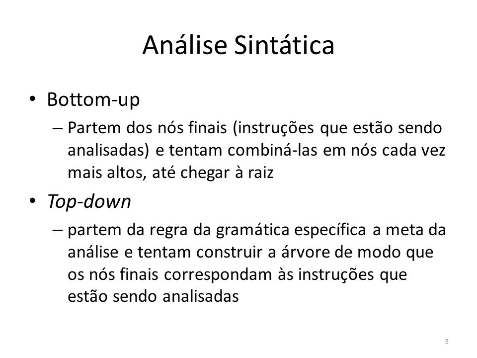 Análise Sintática Bottom-up Top-down