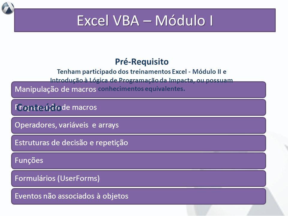 Excel VBA – Módulo I Conteúdo Pré-Requisito Manipulação de macros