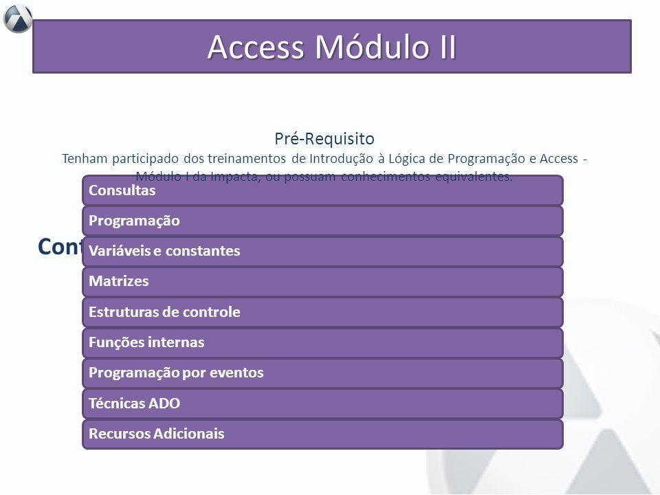 Access Módulo II Conteúdo Objetivo Pré-Requisito Consultas Programação