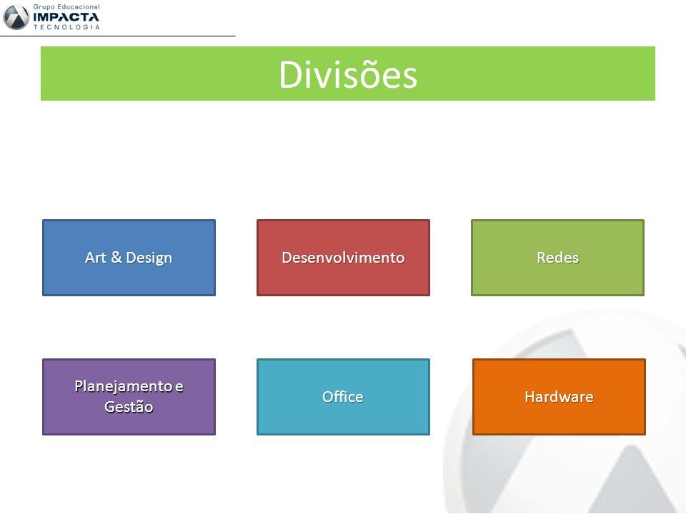 Divisões Art & Design Desenvolvimento Redes Planejamento e Gestão