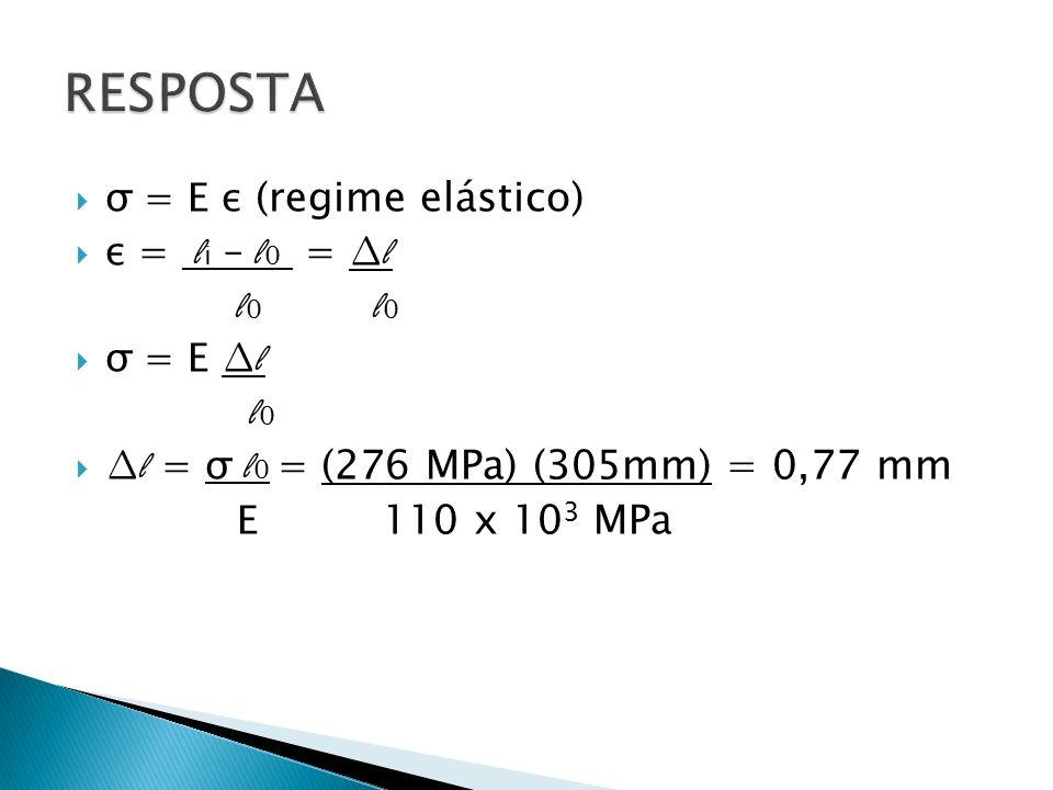 RESPOSTA σ = E ε (regime elástico) ε = li – l0 = ∆l l0 l0 σ = E ∆l l0