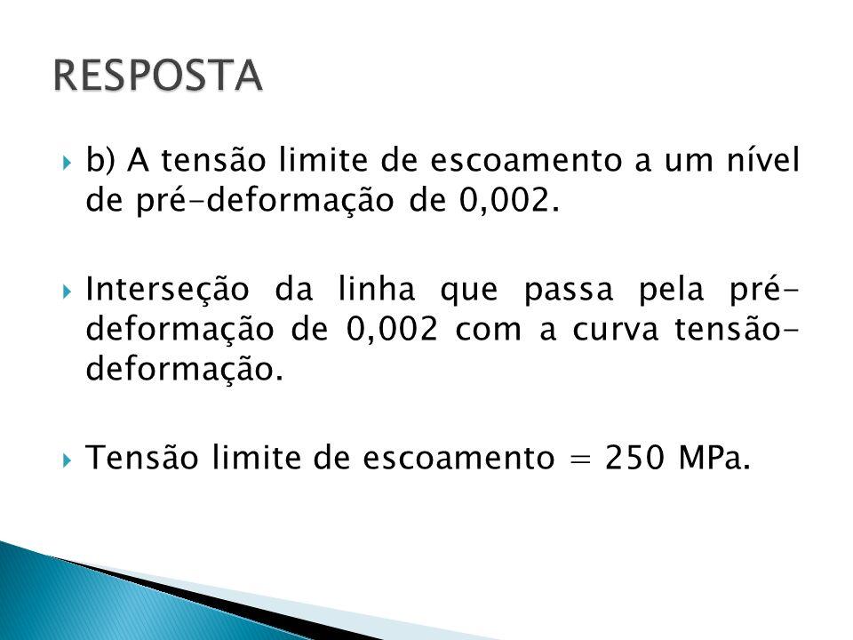 RESPOSTAb) A tensão limite de escoamento a um nível de pré-deformação de 0,002.