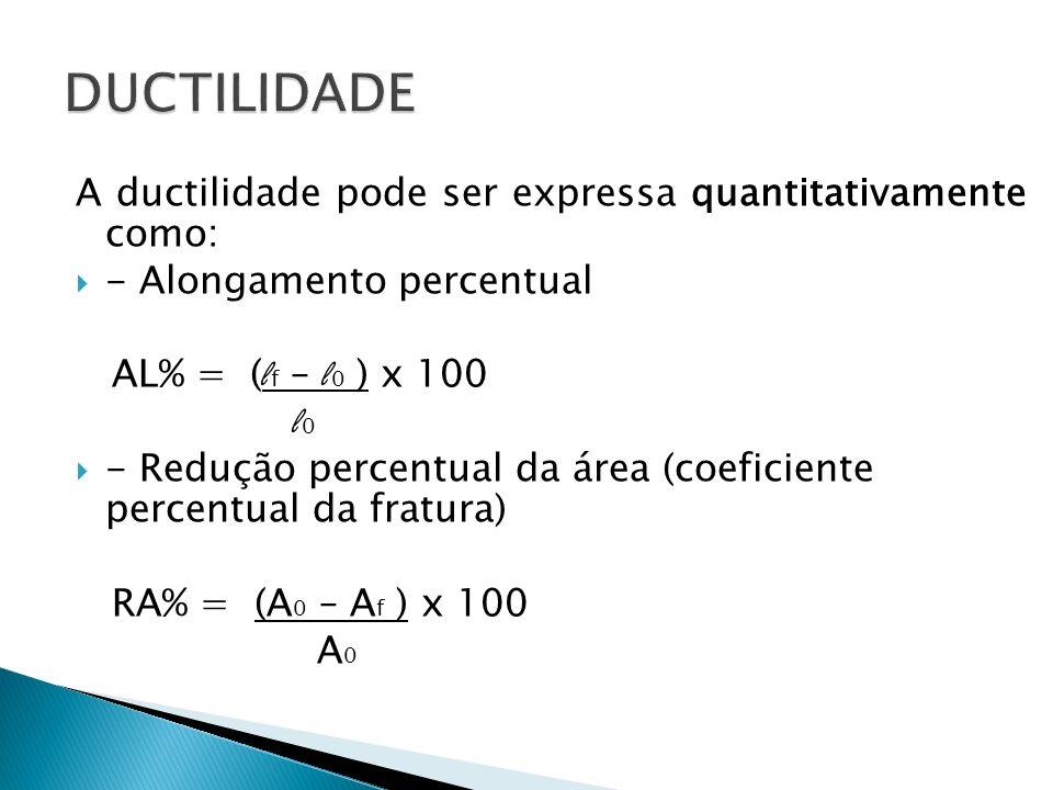 DUCTILIDADE A ductilidade pode ser expressa quantitativamente como: