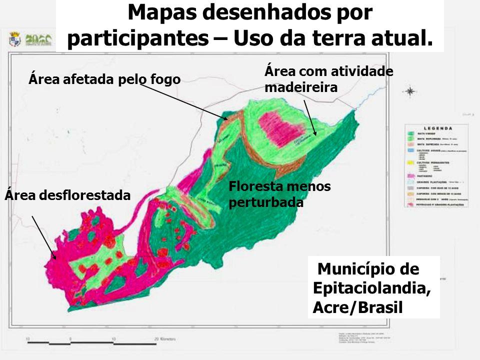 Mapas desenhados por participantes – Uso da terra atual.