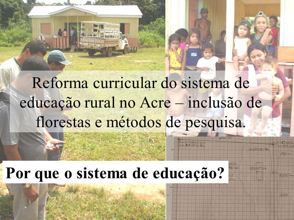 Reforma curricular do sistema de educação rural no Acre – inclusão de florestas e métodos de pesquisa.