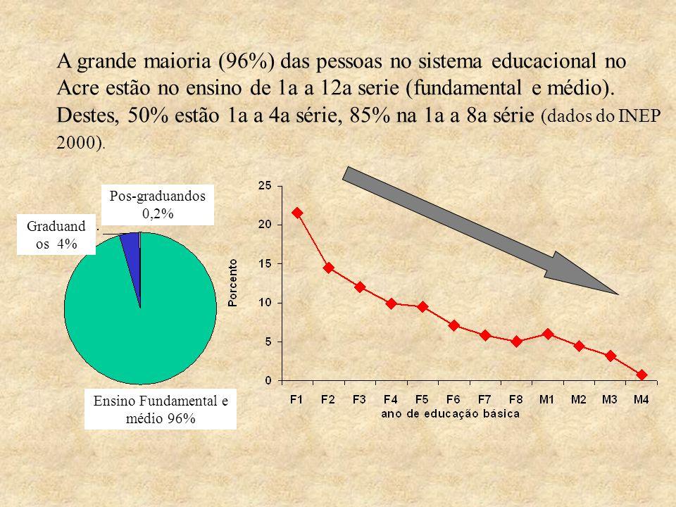Ensino Fundamental e médio 96%